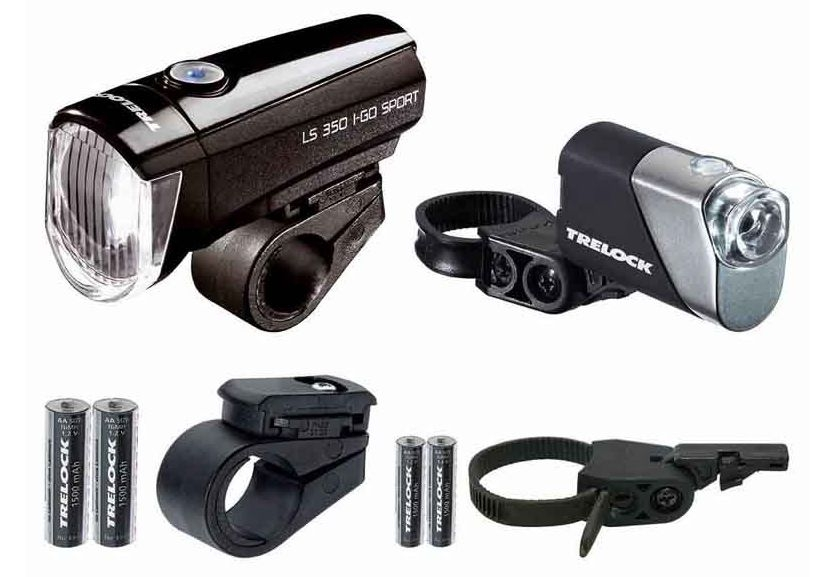 Trelock Lichtset vo.+ hi. LS 350 I-GO® SPORT / LS 710 REEGO Kombi-Set schwarz - Bikedreams & Dustbikes