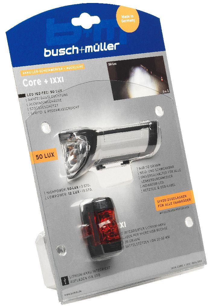 B&M Lichtset vo. + hi. IXON Core + IXXI 50 Lux silber eloxiert - Bikedreams & Dustbikes