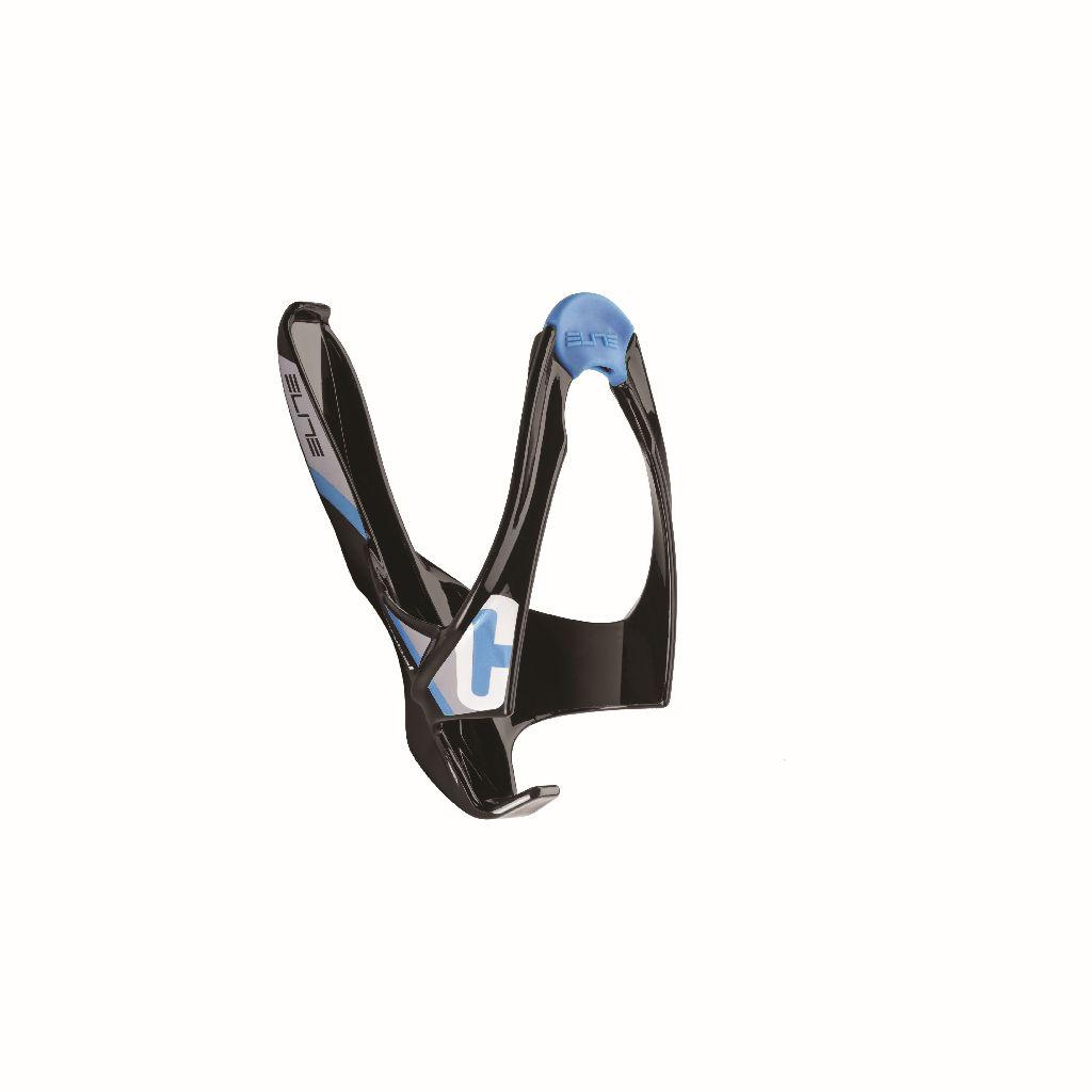 ELITE Flaschenhalter CANNIBAL schwarz glänzend mit blauer Grafik - Bikedreams & Dustbikes