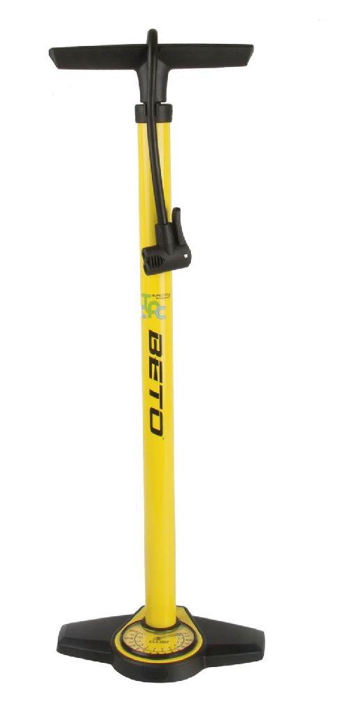 BETO Standpumpe Stahl gelb/schwarz mit Doppelkopf - Bikedreams & Dustbikes