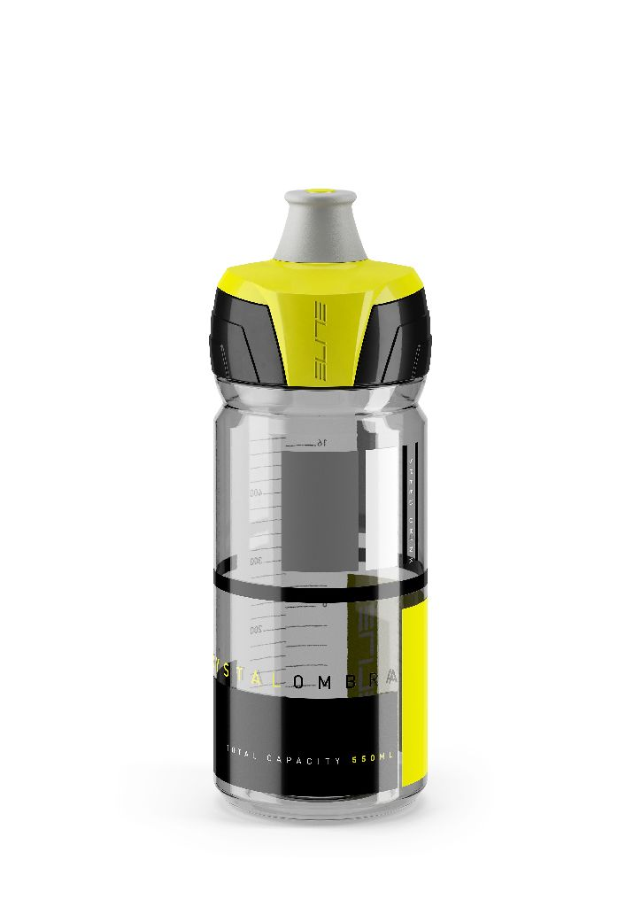 ELITE Flasche CRYSTAL OMBRA CLEAR 550ml gelbe Grafik - Bikedreams & Dustbikes